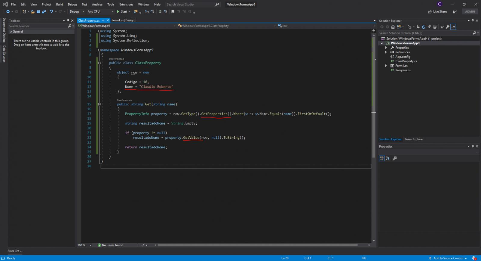 Propriedades de um objeto em C#
